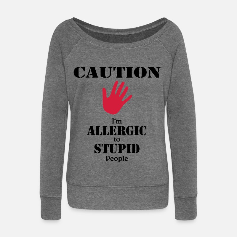 Estúpido Manga larga - Caution, I'm allergic to stupid people - Sudadera con cuello redondo mujer gris oscuro jaspeado