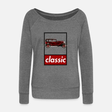 Classic Car red classic car classic - Women's Boat Neck Long Sleeve Top