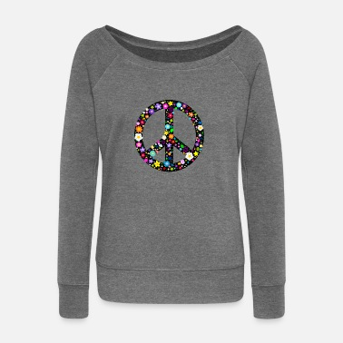 Peace Flower Peace Sign Buttons - Women's Boat Neck Long Sleeve Top