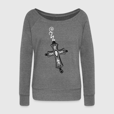 Cross, Crucifix, with gemstone and spirals. - Women's Boat Neck Long Sleeve Top