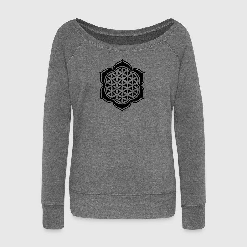 Flower of life, Lotus-Flower, vector, c, energy symbol, protection symbol - Women's Boat Neck Long Sleeve Top