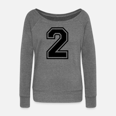 Number 2 Two number digit number back number gift - Women's Boat Neck Long Sleeve Top