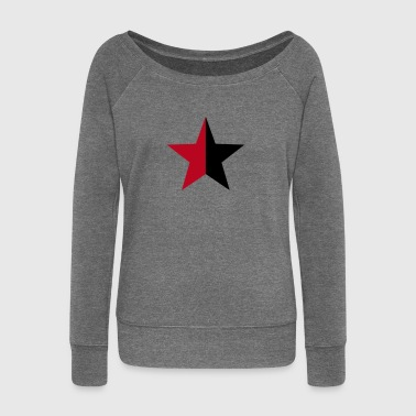 Anarchy Star Rebel Revolution Fight Left Red Black - Women's Boat Neck Long Sleeve Top