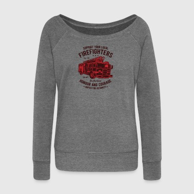 Firefighter Firefighter Firefighter Christmas - Women's Boat Neck Long Sleeve Top