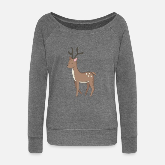 Birthday Long sleeve shirts - reindeer - Women's Wide-Neck Sweatshirt dark grey heather