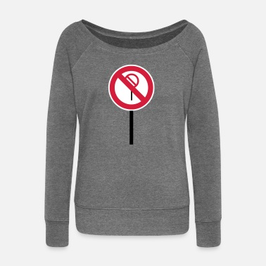 Prohibited Sign Prohibitions prohibited - Women's Boat Neck Long Sleeve Top