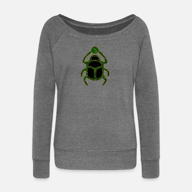 Amulet Scarab Amulet for Strength & Courage / Protection Amulet, green / - Women's Boat Neck Long Sleeve Top