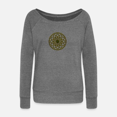 Symbol Flower of Life - Seed of Life - Tube Torus, digital, gold, energy, symbol, protection, powerful, icon - Women's Boat Neck Long Sleeve Top