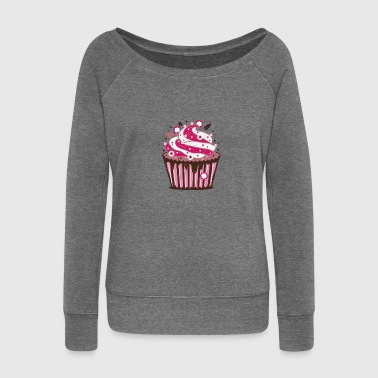 A cupcake with frosting - Women's Boat Neck Long Sleeve Top