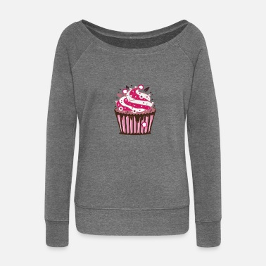 Frost A cupcake with frosting - Women's Boat Neck Long Sleeve Top