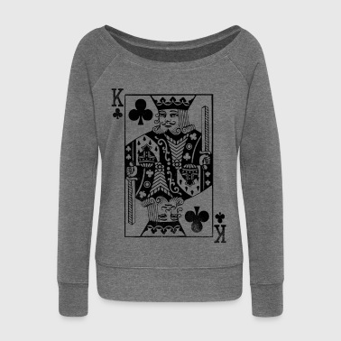 Carta Da Gioco Vintage King Card - Cross King Retro Poker Card - Felpa con scollo a barca da donna, marca Bella
