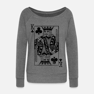 Skate Carte Vintage King - Carte Cross King Retro Poker - Pull Femme col bateau de Bella