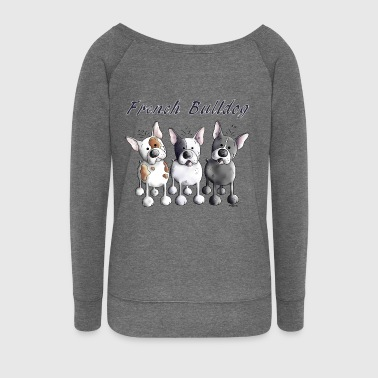 Three French Bulldogs - Bulldog - Dog - Women's Boat Neck Long Sleeve Top
