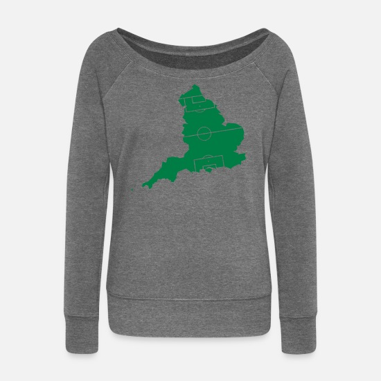 London Long sleeve shirts - England as a football field - Women's Wide-Neck Sweatshirt dark grey heather