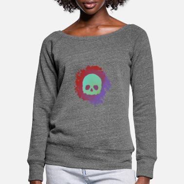 Blood Skull - Women's Wide-Neck Sweatshirt
