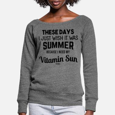 Surfing Summer sea sun beach vacation gift - Women's Wide-Neck Sweatshirt