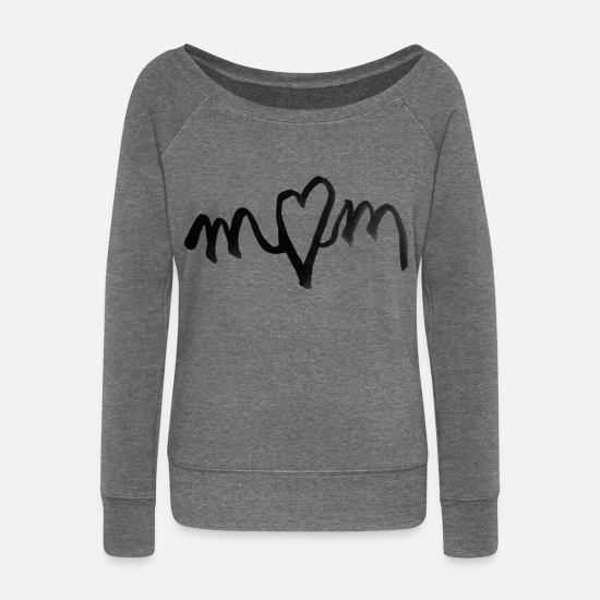 Love Long Sleeve Shirts - I heart MOM love - Women's Wide-Neck Sweatshirt dark grey heather