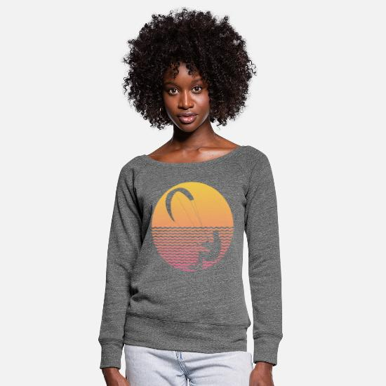 Surfer Long Sleeve Shirts - Surfer in the wind - Women's Wide-Neck Sweatshirt dark grey heather