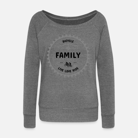 Bicycle Long Sleeve Shirts - t shirt bicycle family annual cycling - Women's Wide-Neck Sweatshirt dark grey heather