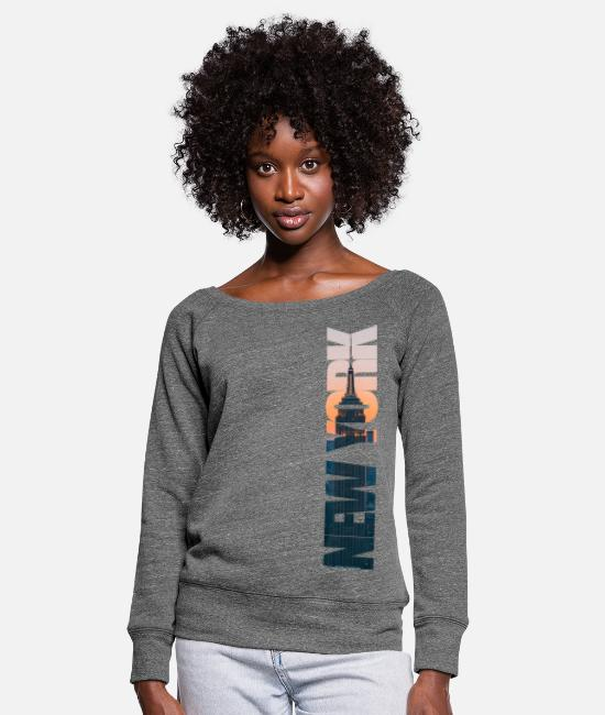 Building Long-Sleeved Shirts - New York City - Women's Wide-Neck Sweatshirt dark grey heather