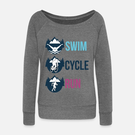 Bicyclette Long Sleeve Shirts - swim cycle run - Women's Wide-Neck Sweatshirt dark grey heather