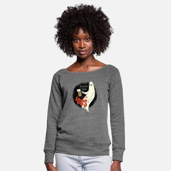 Witching Hour Long Sleeve Shirts - Im just here for the boos gift idea - Women's Wide-Neck Sweatshirt dark grey heather