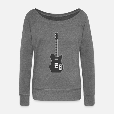 Guitar Player Pixel E Guitar Player Guitarist Gamer Gift - Felpa con scollo a barca donna