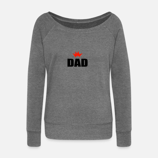 Crown Long sleeve shirts - DAD - Women's Wide-Neck Sweatshirt dark grey heather