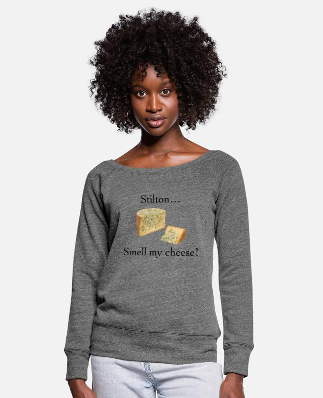 Smell My Cheese Long-Sleeved Shirts - Smell My Cheese - Women's Wide-Neck Sweatshirt dark grey heather