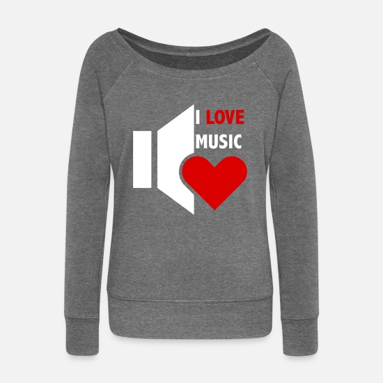 Love Long sleeve shirts - I love music - Women's Wide-Neck Sweatshirt dark grey heather