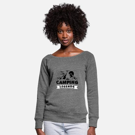 Gift Idea Long sleeve shirts - Camping legend | Camping campsite gift idea - Women's Wide-Neck Sweatshirt dark grey heather