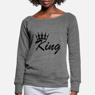 Engagement King and queen - Women's Wide-Neck Sweatshirt