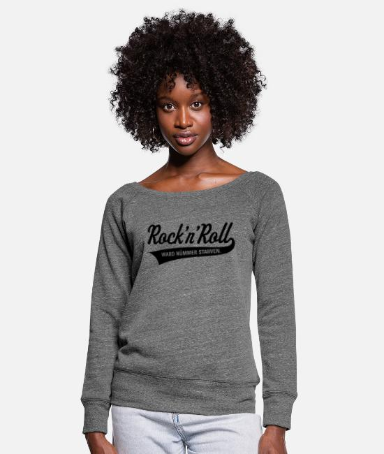 Viking Long-Sleeved Shirts - Rock 'n' Roll was nümmer starven (Plattdüütsch) / - Women's Wide-Neck Sweatshirt dark grey heather