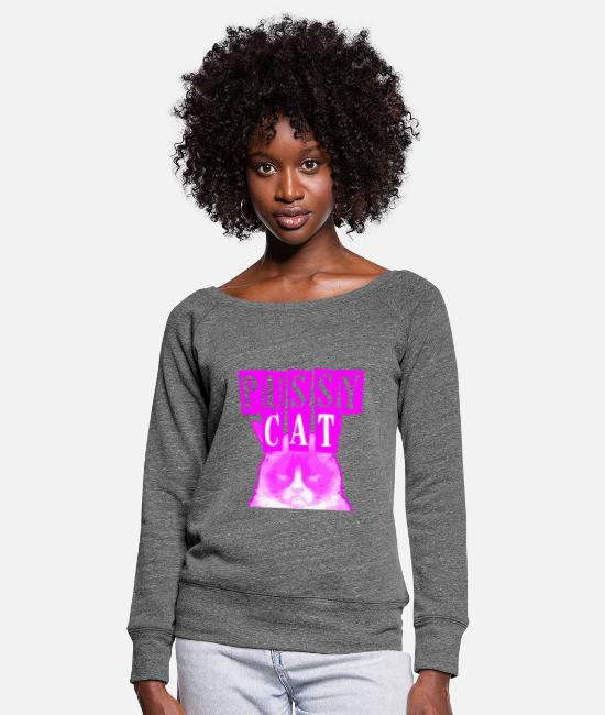 Cat Eye Long sleeve shirts - PussyCat with bad cat! Idea, Cool, Gift - Women's Wide-Neck Sweatshirt dark grey heather