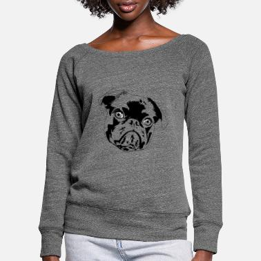 pug puppy - Women's Wide-Neck Sweatshirt