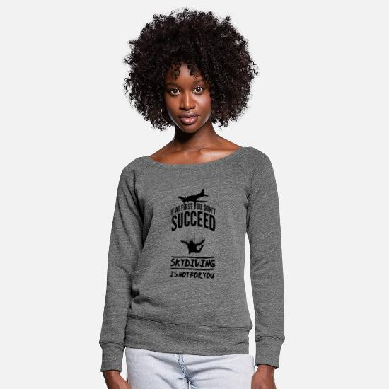 Skydiving Long sleeve shirts - Skydiving skydiving - Women's Wide-Neck Sweatshirt dark grey heather