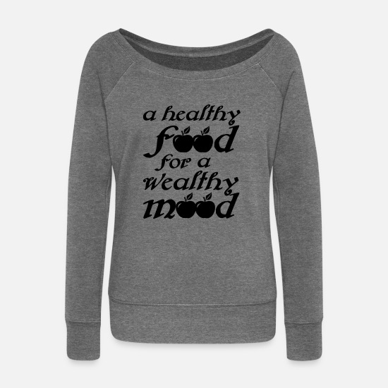 Love Long Sleeve Shirts - Sustainability Healthy - Women's Wide-Neck Sweatshirt dark grey heather