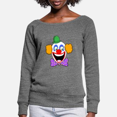 FASCHING CARNIVAL COSTUME KONFETTI FUNNY CLOWN - Women's Wide-Neck Sweatshirt