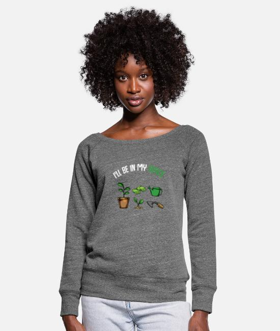 Bed Long sleeve shirts - Garden office garden gardener - Women's Wide-Neck Sweatshirt dark grey heather