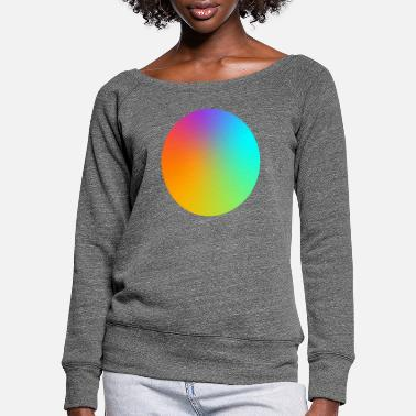 Multi Coloured Gradient Circle Multi-Coloured - Women's Wide-Neck Sweatshirt