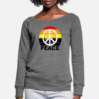 Peace Sign Peace sign Peace sign with writing - Women's Wide-Neck Sweatshirt