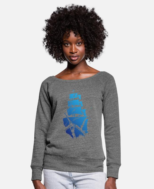 Blue White Long-Sleeved Shirts - Blue ship - Women's Wide-Neck Sweatshirt dark grey heather