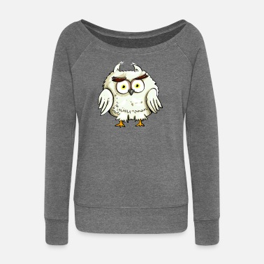 Owl gift idea animal - Women's Wide-Neck Sweatshirt