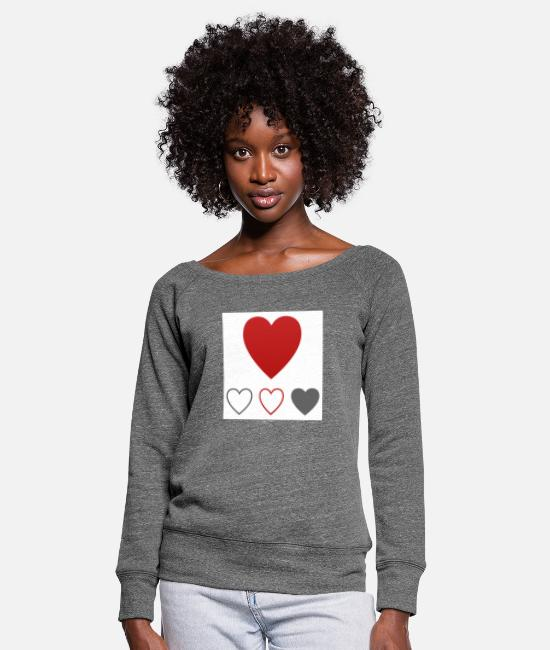 Heart Long-Sleeved Shirts - heart heart - Women's Wide-Neck Sweatshirt dark grey heather