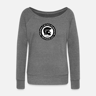 Skinhead Trojan Skinhead design - AntiRacist Skinhead - Women's Wide-Neck Sweatshirt