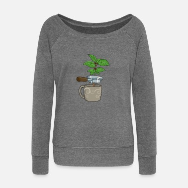 Plant Coffee bean bean plant coffee Hot gift - Women's Wide-Neck Sweatshirt