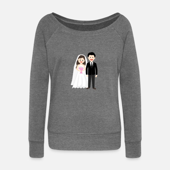 Bride Long Sleeve Shirts - Wedding marriage couple - Women's Wide-Neck Sweatshirt dark grey heather