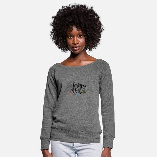 Birthday Long Sleeve Shirts - Joyeux Noel 4741 - Women's Wide-Neck Sweatshirt dark grey heather