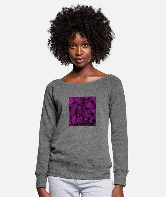 Mantra Long sleeve shirts - Curved lines in purple - Women's Wide-Neck Sweatshirt dark grey heather