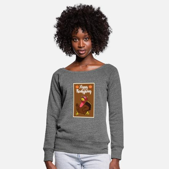 Poultry Long Sleeve Shirts - Thanksgiving turkey turkey thanksgiving - Women's Wide-Neck Sweatshirt dark grey heather
